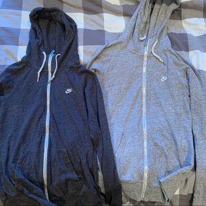 Set of two zip up nike hoodies